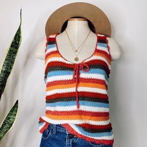 • CANDIE'S • colorful crochet striped tank top